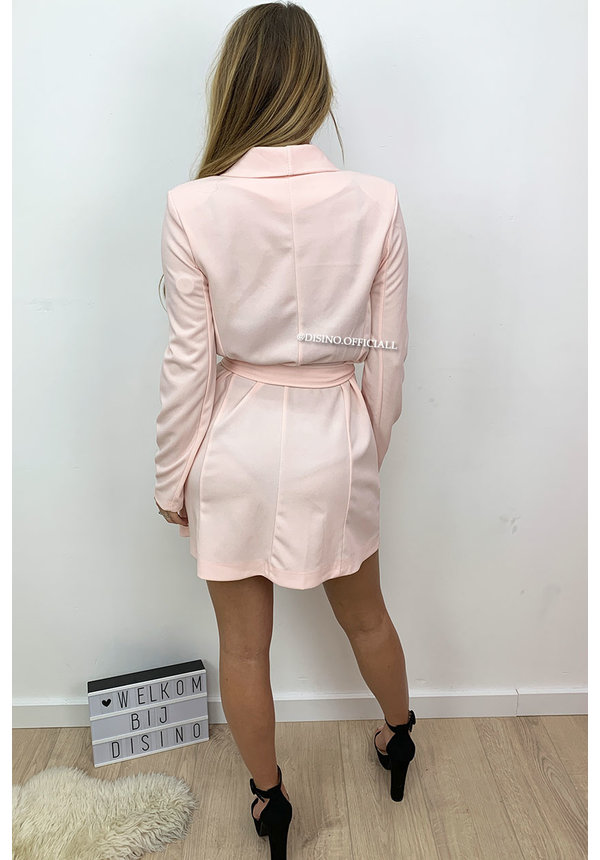 SOFT PINK - 'ALICE' - DOUBLE BREASTED GOLD BUTTON JACKET DRESS