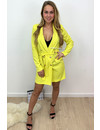 YELLOW - 'ALICE' - DOUBLE BREASTED GOLD BUTTON JACKET DRESS