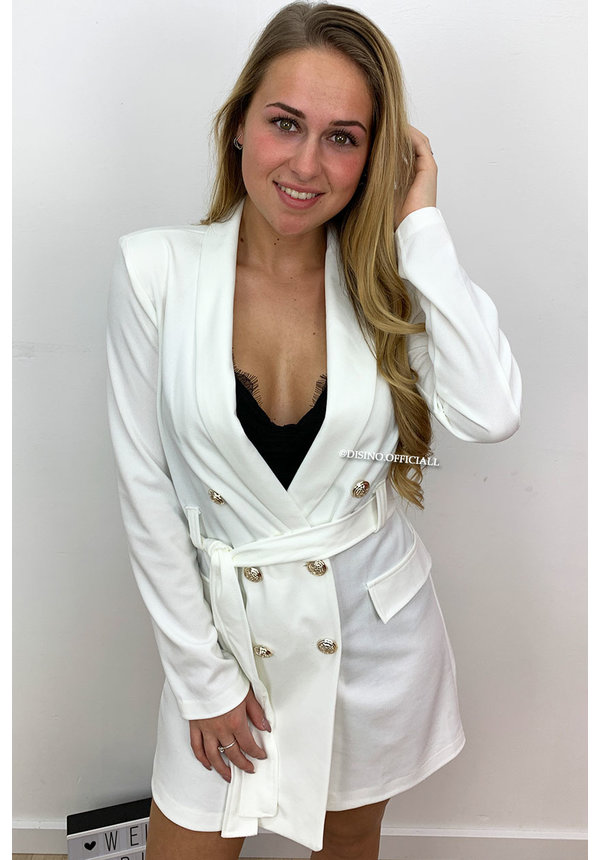 WHITE - 'ALICE' - DOUBLE BREASTED GOLD BUTTON JACKET DRESS