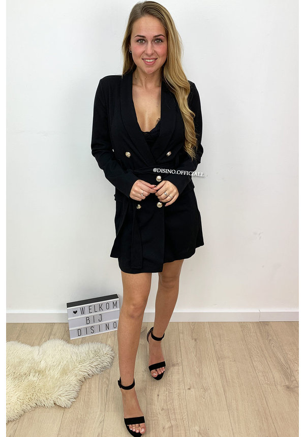 BLACK - 'ALICE' - DOUBLE BREASTED GOLD BUTTON JACKET DRESS