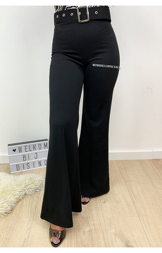 BLACK - 'CANDICE' - HIGH WAIST FLARED PANTS WITH BELT