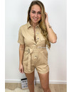 BEIGE - 'ANNA' - CARGO DENIM PLAYSUIT