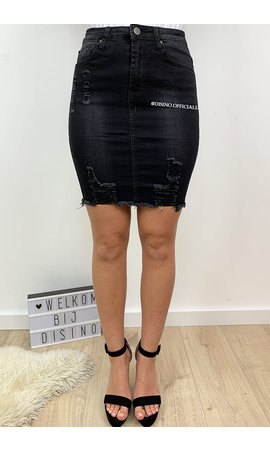 BLACK - 'LISA' - DISTRESSED SUPER STRETCH DENIM SKIRT