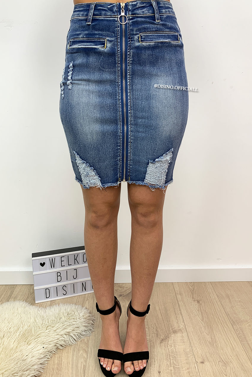 b544d35e2ee9 Distressed Stretch Denim Pencil Skirt