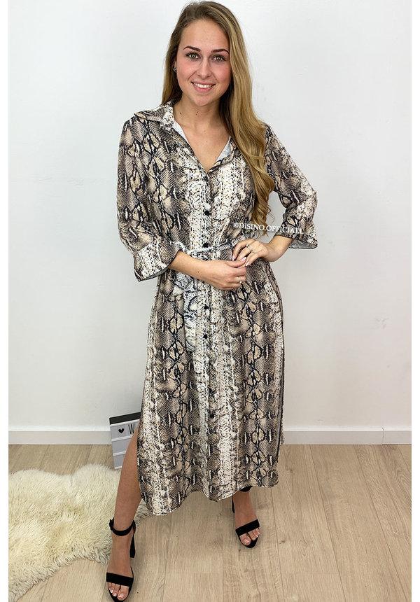 BROWN - 'VANITY' - LONG SNAKE PRINT BLOUSE DRESS