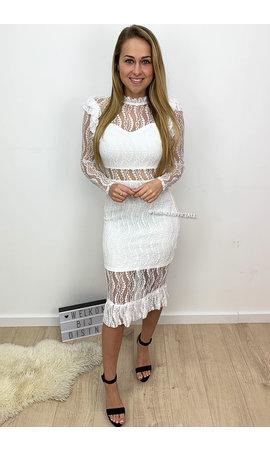 WHITE - 'VALENTINA LONGSLEEVE' - LACE PENCIL DRESS