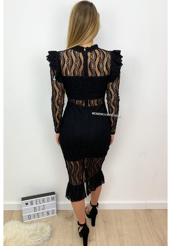 BLACK - 'VALENTINA LONGSLEEVE' - LACE PENCIL DRESS