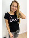BLACK - PINK WRITTEN LOVE PAILLET  - TEE