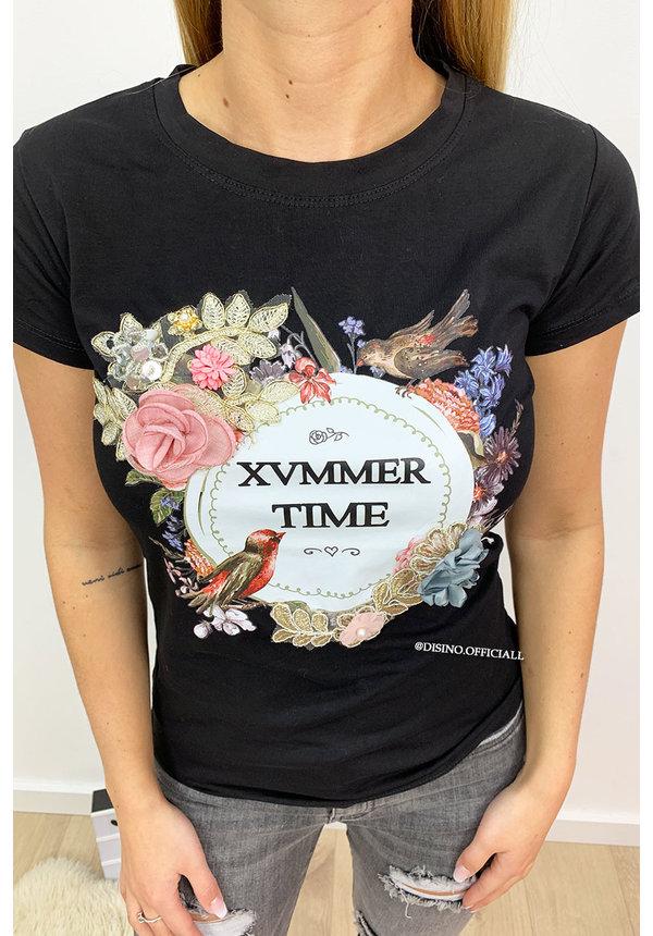 BLACK - FLOWERLY XVMMER TIME  - 3D TEE