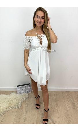 WHITE - 'TIFFANY' - CROCHET LACE DRESS