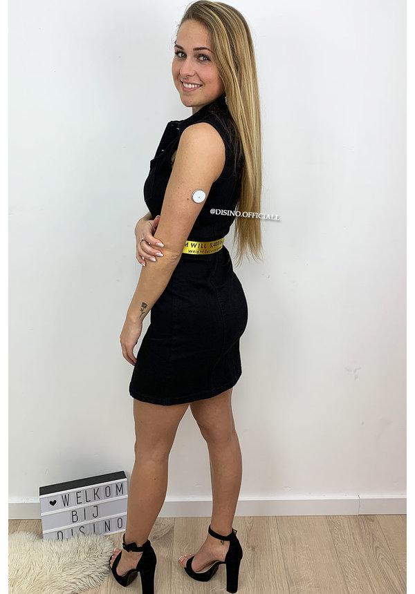 BLACK - 'IMANI' - STRETCHY DENIM DRESS