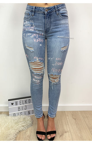 QUEEN HEARTS JEANS - LIGHT BLUE - HIGH WAIST GRAFFITI JEANS - 596