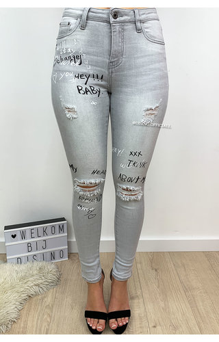f757e929b093f2 QUEEN HEARTS JEANS - GREY - HIGH WAIST GRAFFITI JEANS - 596