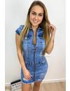 BLUE - 'DJAMILA ZIP' - PREMIUM QUALITY SUPER STRETCH DENIM DRESS WITH ZIPPER
