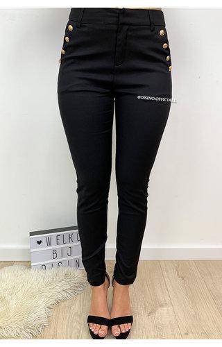 BLACK - 'DIANA' - PREMIUM QUALITY GOLD BUTTON PANTS