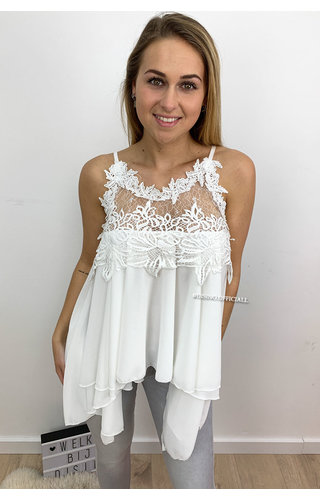 WHITE - 'ESTHER' - LACE 'N RUFFLE TOP
