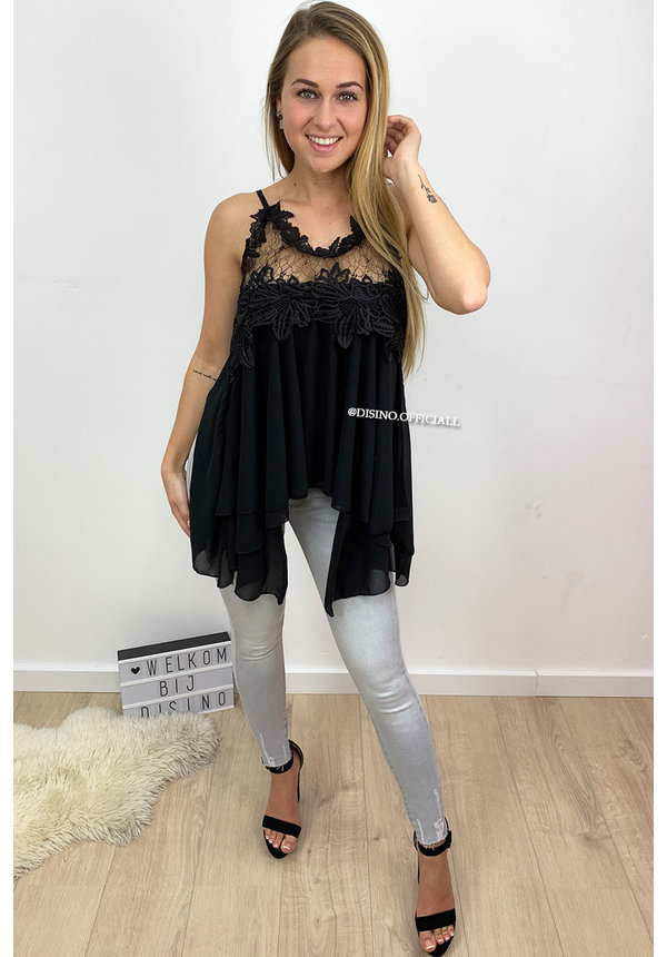 BLACK - 'ESTHER' - LACE 'N RUFFLE TOP