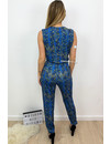 BLUE - 'LILIAN LONG' - SOFT TOUCH SNAKE PRINT JUMPSUIT