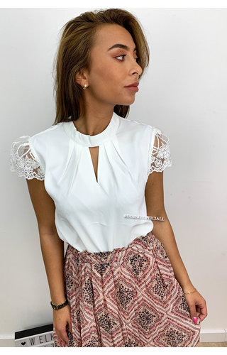 WHITE - 'MADELYN' - CLASSY LACE SHOULDER TOP