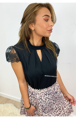 BLACK - 'MADELYN' - CLASSY LACE SHOULDER TOP