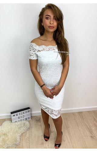 WHITE -'MALOU' - OFF SHOULDER LACE DRESS