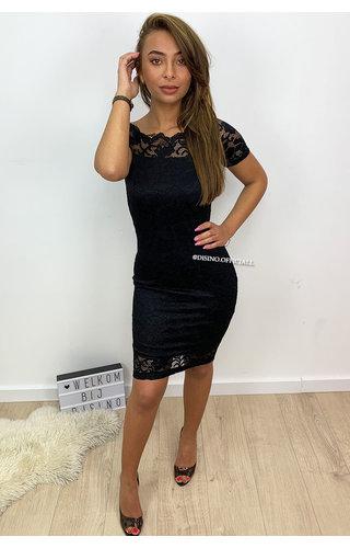 BLACK -'MALOU' - OFF SHOULDER LACE DRESS