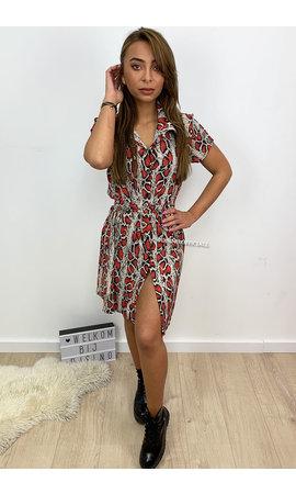 RED - 'SELENA' - SNAKE PRINT BLOUSE DRESS