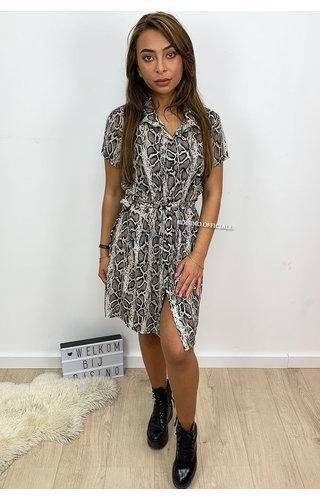 BEIGE - 'SELENA' - SNAKE PRINT BLOUSE DRESS