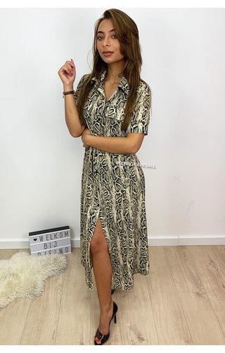 BEIGE - 'KELSEY' - SNAKE PRINT MAXI BLOUSE DRESS