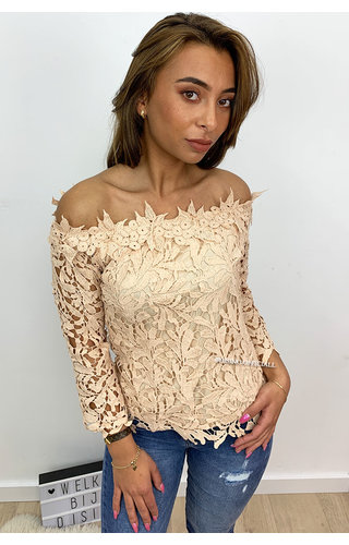NUDE - 'SHARONA' - CROCHET LACE OFF SHOULDER TOP