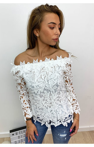 WHITE - 'SHARONA' - CROCHET LACE OFF SHOULDER TOP
