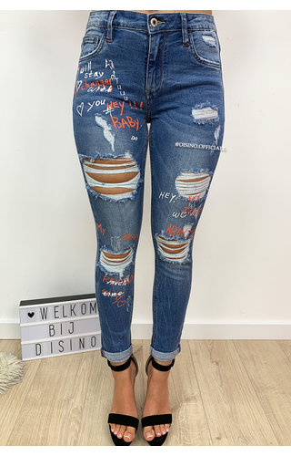 QUEEN HEARTS JEANS - MEDIUM BLUE - HIGH WAIST ORANGE GRAFFITI JEANS - 656