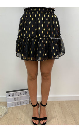 BLACK - 'FABIENNE' - GOLDEN DOT SKIRT