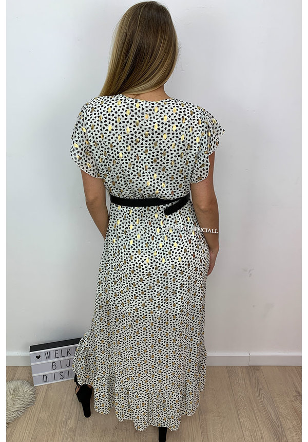 CREME - 'PASCALLE' - PREMIUM QUALITY GOLD DOTTED LEOPARD RUFFLE MAXI DRESS