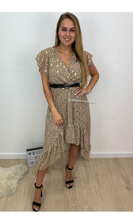 PAPILLONNE NUDE - 'PASCALLE' - PREMIUM QUALITY GOLD DOTTED LEOPARD RUFFLE MAXI DRESS