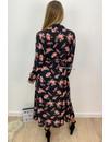 BLACK - 'ROSA' - FLORAL PRINT BLOUSE MAXI DRESS