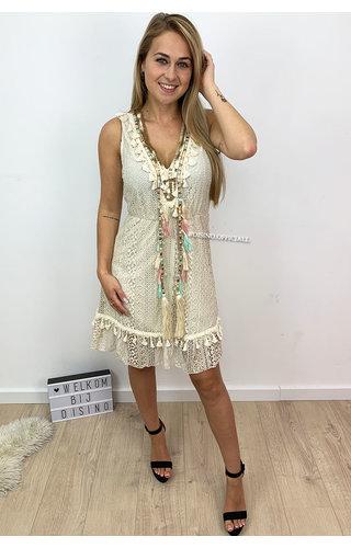 BEIGE - 'LARA' - LACE IBIZA A-LINE DRESS BRUSHED DETAIL