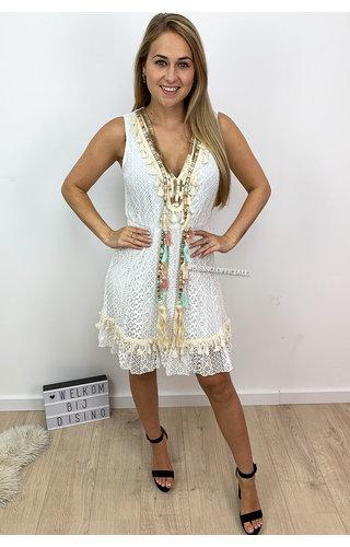 WHITE - 'LARA' - LACE IBIZA A-LINE DRESS BRUSHED DETAIL