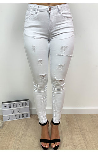 HELLO MISS - WHITE - DISTRESSED SUPER STRETCH SKINNY JEANS - 555