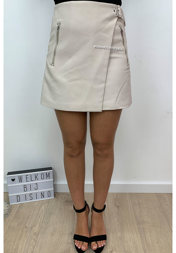 BEIGE - 'ADALYN' - PREMIUM QUALITY BELTED MINI SKIRT