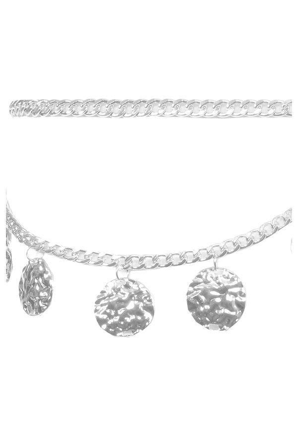 SILVER - 'HAMERED AMULET' - LOOPING DUAL CHAIN WAIST BELT