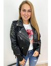 BLACK - 'FESTIVE READY' - LEATHER LOOK BIKER JACK WITH STUDS AND FRANJES