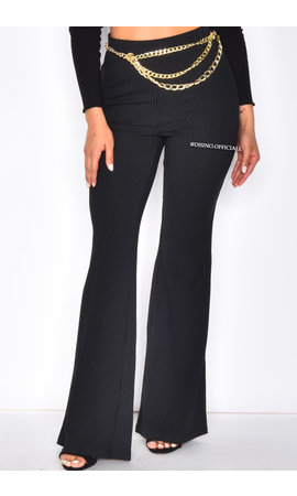 BLACK - 'TOPPIESHOP' - HIGH WAIST RIBBED FLARED PANTS