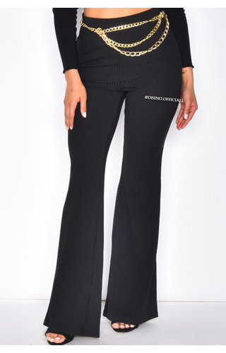 BLACK - 'TOPPIESHOP' - HIGH WAIST RIBBED FLARED PANTS