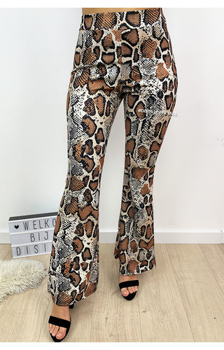 BROWN - 'DANIQUE' - SNAKE PRINT FLARED PANTS