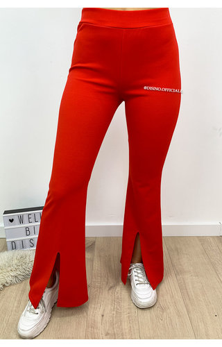 RED - 'ILONA' - FLARED PANTS WITH FRONT SPLIT