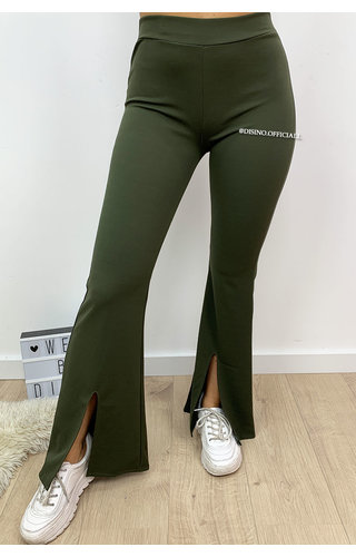 KHAKI GREEN - 'ILONA' - FLARED PANTS WITH FRONT SPLIT