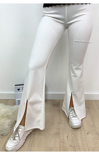 WHITE - 'ILONA' - FLARED PANTS WITH FRONT SPLIT