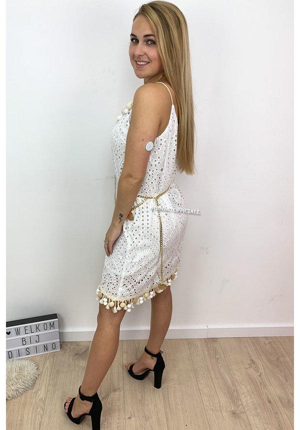 WHITE - 'JOANNE' - CROCHET LACE IBIZA DRESS BRUSHED DETAIL
