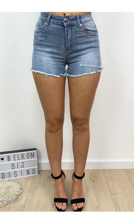 HELLO MISS - LIGHT BLUE - SUPER STRETCH SHORT DENIM PANTS - 575
